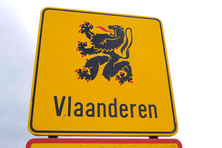 Flanders Road Sign. Border sign language or area Flanders, the Flemish Region, Dutch-speaking northern portion of Belgium.