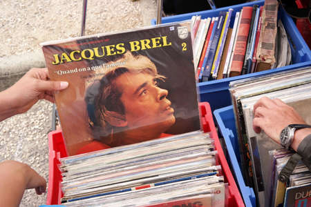jacques: FRANCE - JULY 2014: LP record of the Belgian singer-songwriter Jacques Brel 1929-1978 on a flea market in Brittany, France