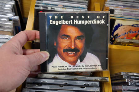 pop singer: THE NETHERLANDS - JANUARY 2016: CD record of the English pop singer Engelbert Humperdinck, in a second hand store.