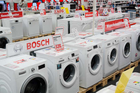 MEPPEN, GERMANY - FEBRUARY 2015: Branch of Media Markt, a German chain of stores selling consumer electronics with numerous at branches Throughout Europe and Asia. It is Europe's largest retailer of consumer electronics.