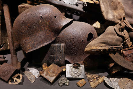 Original historical Nazi military equipment found with a metal detector in the Belgian Ardennes.