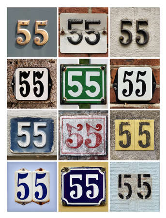 50 to 55 years: Collage of House Numbers Fifty-five