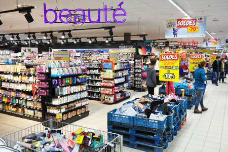 carrefour market: MALMEDY, BELGIUM - JULY 2015: Interior, cosmetics and health care products in the Beauty section of a Carrefour Hypermarket, a French multinational retailer, and large hypermarket chain.