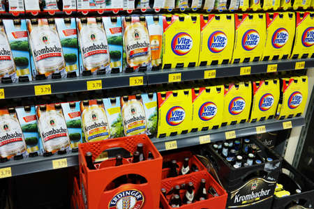 particularly: GERMANY - AUGUST 2015: Beer aisle with Malt beers of different German breweries. Vitamalz is a German malt beer without alcohol. Editorial