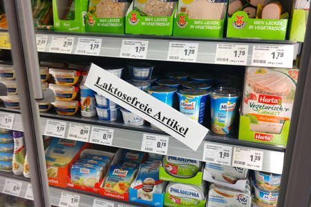 intolerance: Waldfeucht, GERMANY - MAY 2016: Products for Lactose intolerance in a REWE supermarket