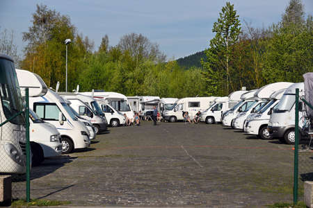 motor vehicle: MALMEDY, BELGIUM - MAY 2016: Recreational vehicle parking Malmedy. Location dedicated for motor homes in Malmedy a Walloon city and municipality in the Belgian Ardennes.