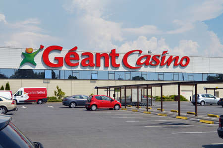 SEDAN, FRANCE - JULY 2013: Facade of a Géant Casino hypermarket, part of French retailing giant Groupe.