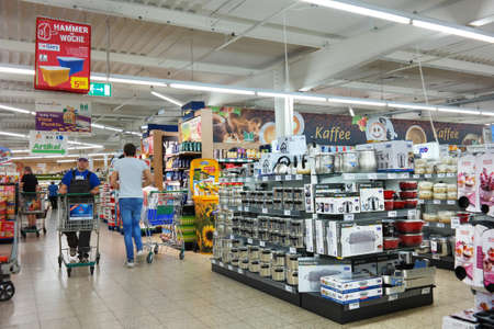GERMANY - AUGUST 2016: Household appliances and kitchenware, in a non-food section of a Marktkauf Hypermarket, part of Edeka Group, the largest German supermarket corporation.