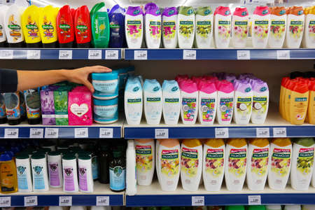 superstore: THE NETHERLANDS - SEPTEMBER 2016: Aisle with a variety of hair care products in a Action Superstore.