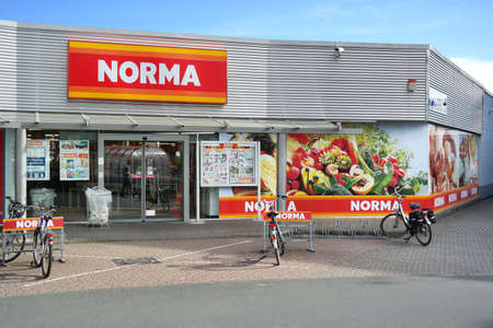 rodi: BOCHOLT, GERMANY - SEPTEMBER 2016: Entrance of Norma discount supermarket. Norma is a food discount store with more than 1,400 stores in Europe