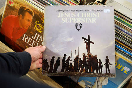 narratives: THE NETHERLANDS - OCTOBER 2016: LP record of the sound track from the 1973 film Jesus Christ Superstar, in a second hand store. Editorial