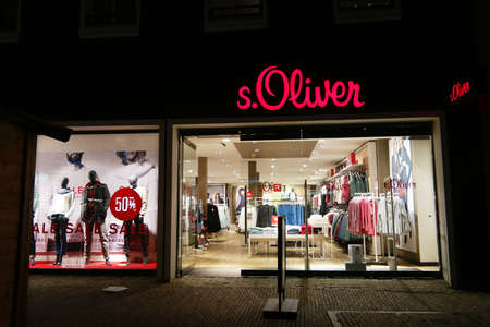 NORDHORN, GERMANY - DECEMBER 23, 2016: Branch of s.Oliver fashion store. s.Oliver Bernd Freier GmbH & Co. KG, is a German company fashion Headquartered in Rottendorf That sells apparel, shoes, accessories, jewelery, fragrances and eyewear worldwide.