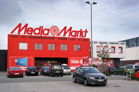 PAPENBURG, GERMANY - AUGUST 2015: Entry of a Media Markt store. Media Markt is a German chain of stores selling consumer electronics with numerous at branches Throughout Europe and Asia.
