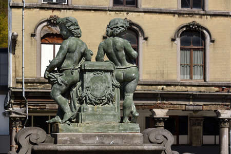 SPA, BELGIUM - MAY 2016 Bronze image of a mythological creature in the public domain of the city of Spa. Publikacyjne