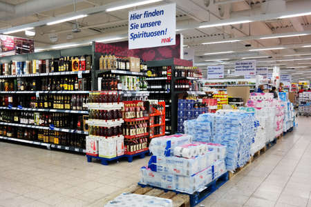 MONSCHAU, GERMANY - JULY 2015: Interior of a Real Hypermarket, a European hypermarket chain, member of the German trade and retail giant Metro AG.