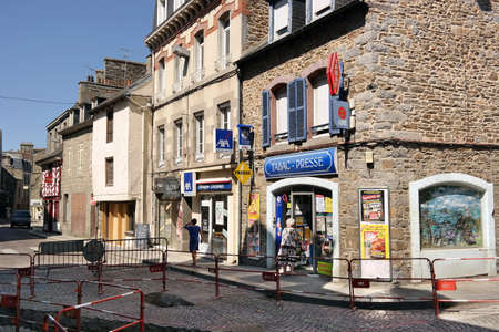 SAINT-BRIEUC, FRANCE - JULY 2014: Street view at tobacco shop Books shop in the town of Saint Brieuc, Brittany, France.