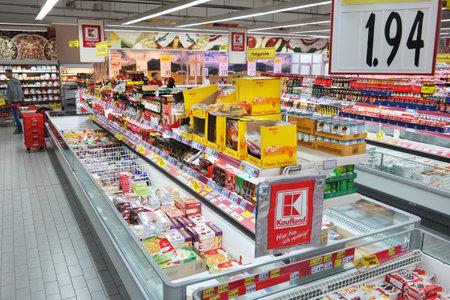 MEPPEN, GERMANY - FEBRUARY 2015: Kaufland Hypermarket interior. Kaufland is a German hypermarket chain, part of the Schwarz Group.