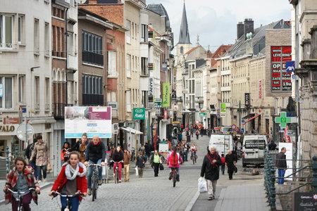 MECHELEN, BELGIUM - OCTOBER 2014: Shops in the center of the old Flemish city of Mechelen.