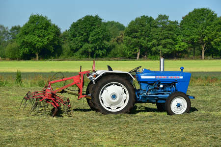 FRIESLAND, NETHERLANDS - MAY 2017: The Ford 3000 is a tractor that was introduced by Ford in 1965