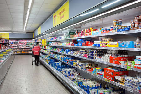 ELTEN, GERMANY - JULY 2017: Interior of a Net Marken-Discount supermarket. Net Marken-Discount is a German supermarket chain, owned by the largest German supermarket cooperative Edeka Group.