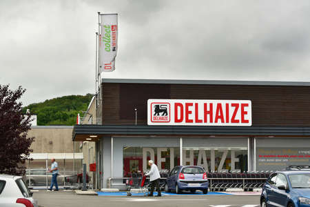 HERSTAL, BELGIUM - AUGUST 2017: Delhaize supermarket, part of Delhaize Group, an international food retailer, Merged with Ahold to Ahold Delhaize NV.