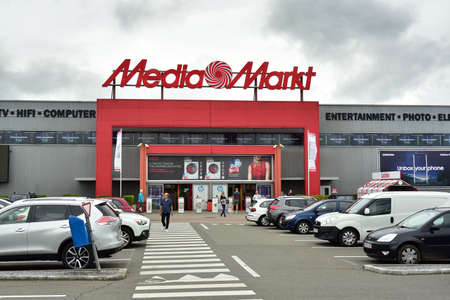 HERSTAL, BELGIUM - AUGUST 2017: Entry of a Media Market store. Mediamarkt is a German chain of stores selling consumer electronics with many branches. Publikacyjne
