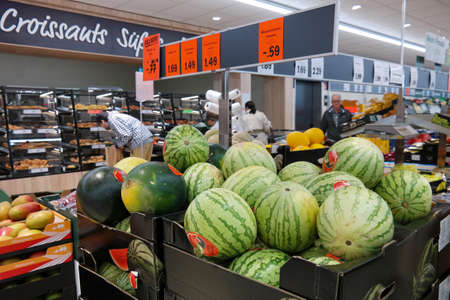 AACHEN, GERMANY - AUGUST 2017: The fresh department of a Lidl supermarket. Lidl is a German discount chain, 9800 stores, in 28 countries in Europe. It belongs to the holding company Schwarz Gruppe. Publikacyjne
