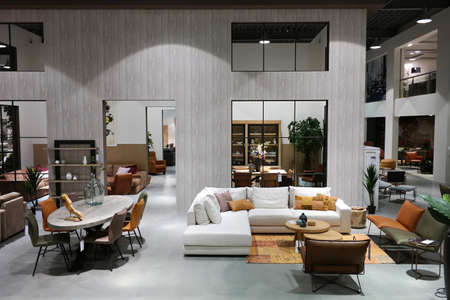 Seating furniture is displayed in a luxury furniture shop in The Netherlands
