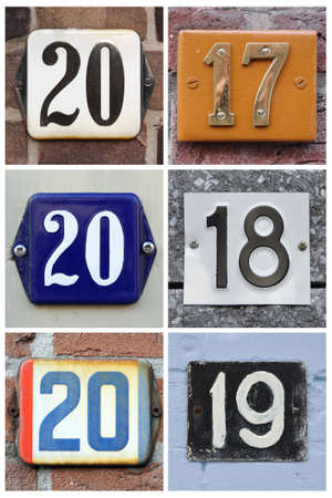 A collage of numbers 2017, 2018 and 2019 or house numbers