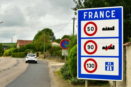 France border signboard. Sign of Speed ??limits at the border of France.