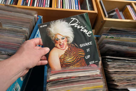 THE NETHERLANDS - APRIL 2018: Single record of the American actor, singer, and drag queen, Harris Glenn Milstead, better known by his stage name Divine, in a second hand store.