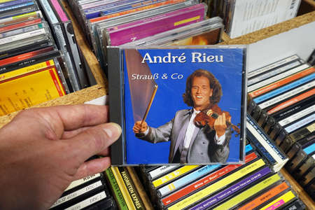 THE NETHERLANDS - MARCH 2019: Album: Andr Rieu - Strauss & Co., CD record of the Dutch violinist and conductor Andr Rieu in a second hand store Editorial