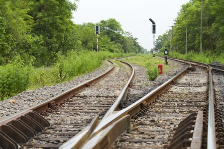 Double rail track in Saraburi province of Thailand. Stock Photo - 10637191