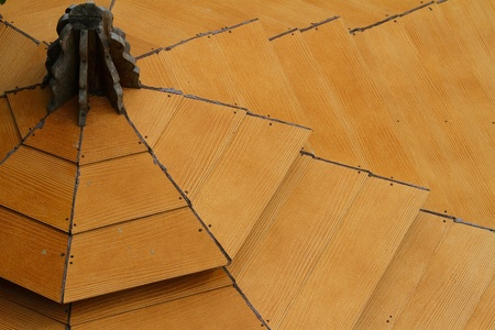 Pattern of the wood roof.  photo