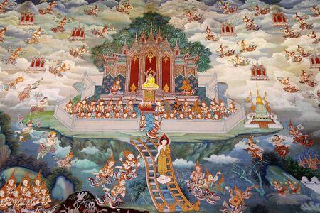 Beautiful mural of the Thai temples.