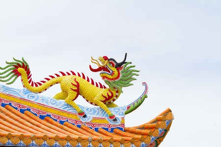Unicorn Statue Chinese temple roof  photo