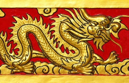 Chinese Dragon at the wall of China temple photo