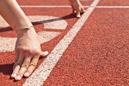 pista de atletismo: comenzar Foto de archivo