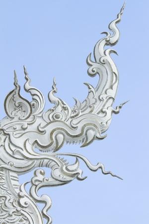 naga china: Top Part Decoration of Temple Roof, White Naga