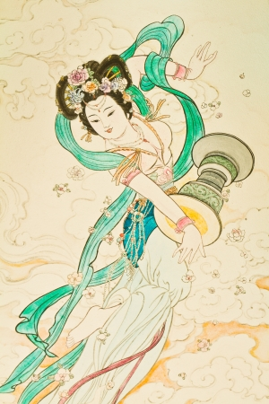 painting style: Tradition Chinese painting on Chinese temple wall Editorial