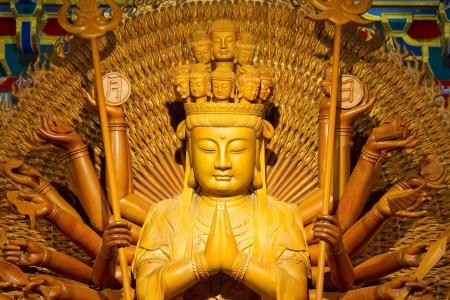 Chinese Buddha Wooden Statue photo