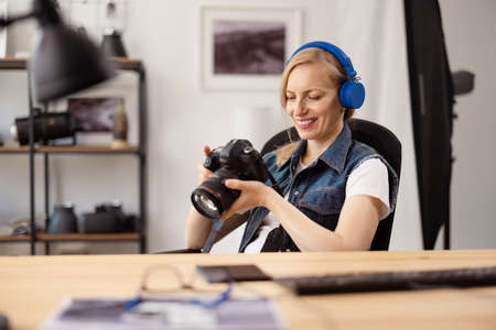 Photographer working at office