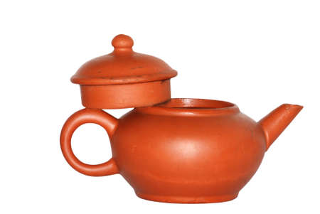 chinese tea pot: Olla de t� chino aislado en fondo blanco