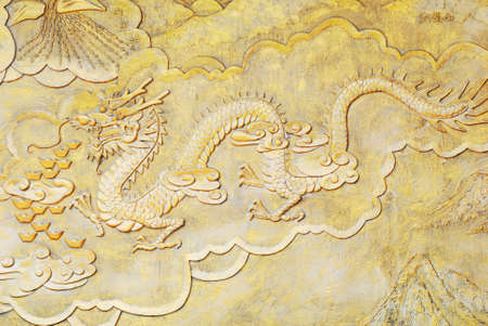 golden relief of Chinese dragon Stock Photo - 7808289