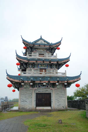 chinese pagoda: chinese ancient building isolated on white