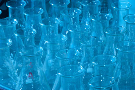 test glass: science test glass conical flask Stock Photo