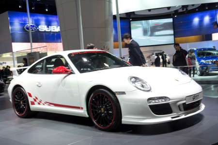 motor show: GUANGZHOU, CHINA - DEC 27: Porsche 911 sport car on display at the 8th China international automobile exhibition. on December 27, 2010 in Guangzhou China. Editorial