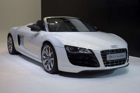 GUANGZHOU, CHINA - DEC 27: Audi r8 5.2 quattro car on display at the 8th China international automobile exhibition. on December 27, 2010 in Guangzhou China. Stock Photo - 8644882
