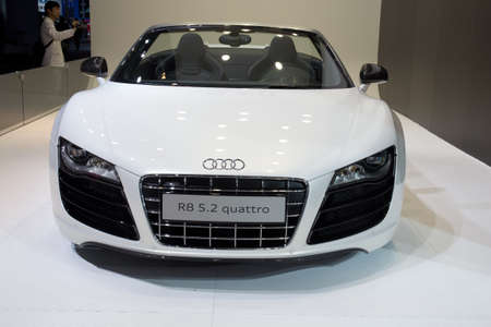 GUANGZHOU, CHINA - DEC 27: Audi r8 5.2 quattro car on display at the 8th China international automobile exhibition. on December 27, 2010 in Guangzhou China. Stock Photo - 8644888