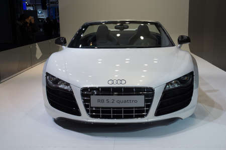 GUANGZHOU, CHINA - DEC 27: Audi r8 5.2 quattro car on display at the 8th China international automobile exhibition. on December 27, 2010 in Guangzhou China.